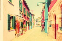 Colorful houses on Burano, near Venice, Italy. Vintage, pastel colours