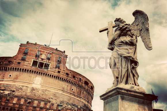Castel Sant'Angelo, Rome, Italy. View from the bridge. Vintage