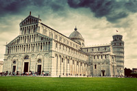 Pisa Cathedral with the Leaning Tower of Pisa, Tuscany, Italy. Vintage