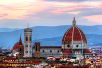 Florence, Italy sunset skyline. Cathedral of Saint Mary of the Flowers