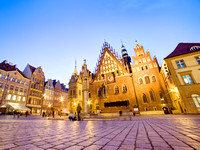 Wroclaw, Poland. The Town Hall on market square at night
