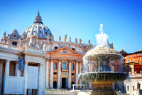 Fountain on St. Peter's square in Vatican City.