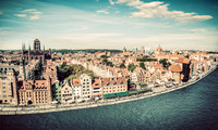 Panorama of Gdansk old town and Motlawa river in Poland. Vintage