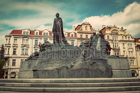 Jan Hus Memorial on the Old Town Square of Prague, Czech Republi