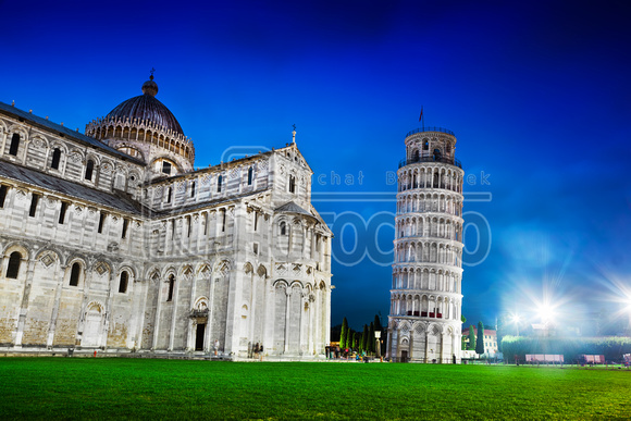 Pisa Cathedral with the Leaning Tower of Pisa, Tuscany, Italy at night