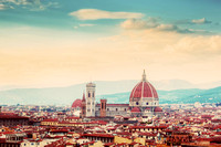Florence, Italy skyline. Cathedral of Saint Mary of the Flowers. Vintage