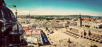 Cracow, Poland panorama. Old town market square and Cloth Hall