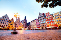 Wroclaw, Poland in Silesia region. The market square at the evening