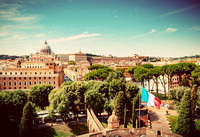 Vatican City. Italian flag waving. Vintage