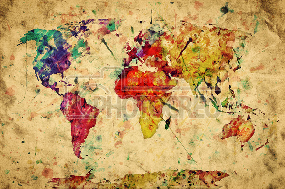 Photocreo michal bednarek backgrounds textures bokeh skies vintage world map colorful paint watercolor on grunge old pap gumiabroncs Image collections