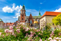Wawel Cathedral, Cracow, Poland. View from courtyard with flowers.